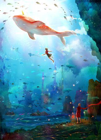 artistic conception illustration of magical undersea world 版權商用圖片