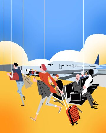 illustration of people rushing on catch the airplane