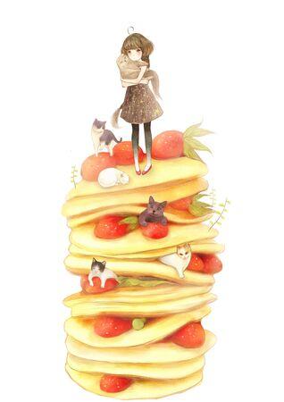 illustration of girl with Melaleuca cake