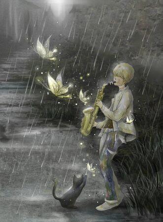 illustration of man playing Saxophone at rain