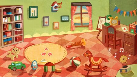illustration of children'room with toys Stockfoto - 127897650
