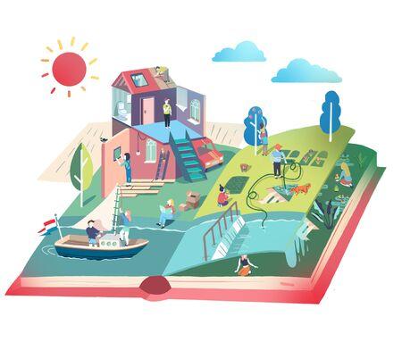 artistic conception illustration of dreamland on book 版權商用圖片