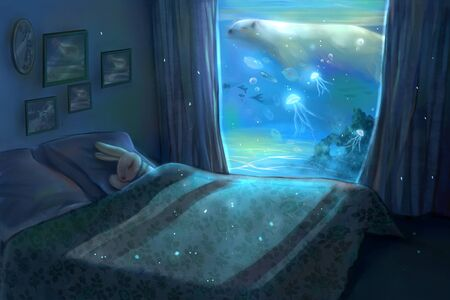 artistic conception illustration of rabbit with sweet dream
