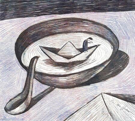 illustration of sad man standing on paper boat on bowl Stockfoto
