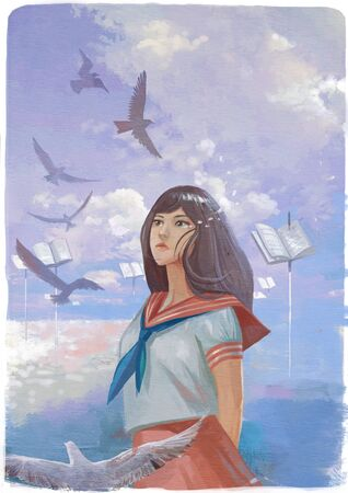 illustration of a student girl looking for future education