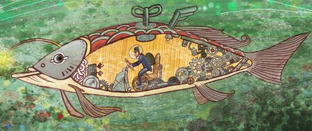 artistic conception illustration of a man have a ocean tour with submarine