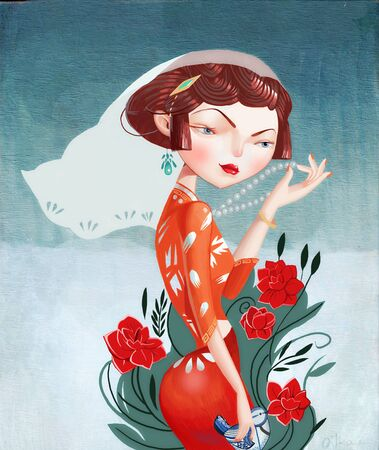 illustration of cheongsam girl with red flower