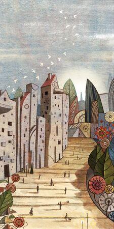 artistic conception illustration of undersea city 版權商用圖片