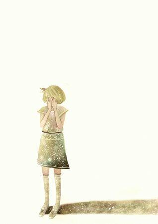 teenage girl crying sadly
