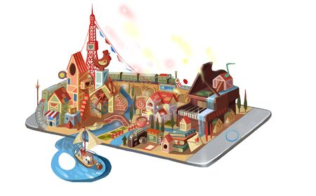 illustration of city on the phone