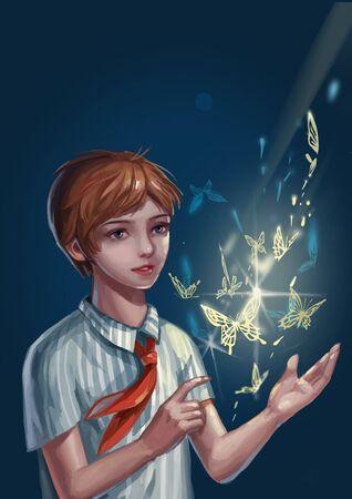 Little boy with supernatural power 版權商用圖片