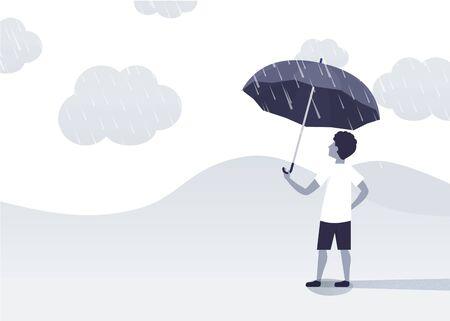 man holding an umbrella under the rainy day