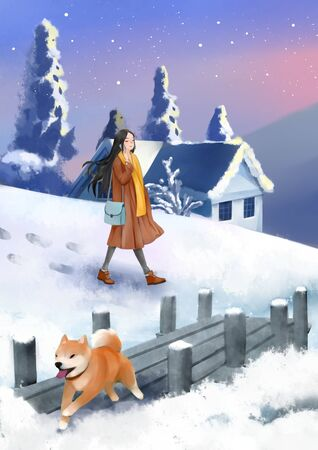 girl walking in the snowy scene