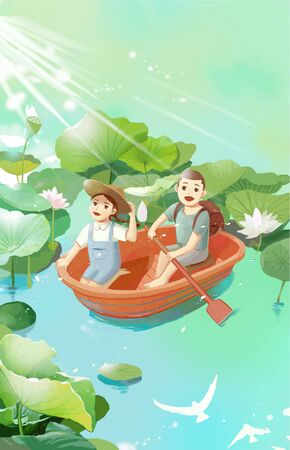 Children rowing in lotus pond during summer