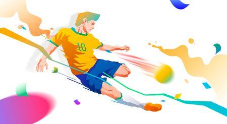 player kicks the ball