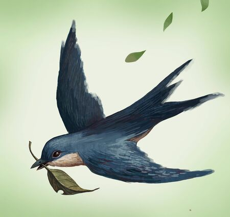 Swallow bird with leaf Stock Photo