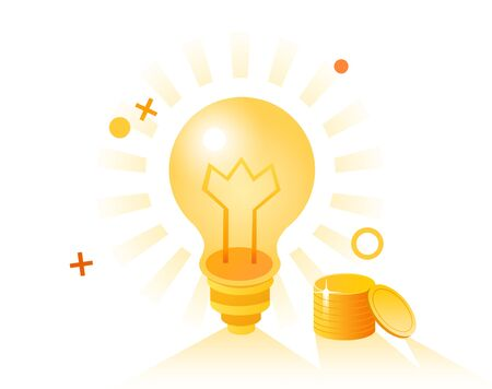 Business concept - lightbulb and coins