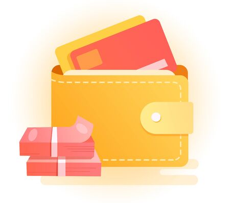 portefeuille avec de l'argent Vecteurs