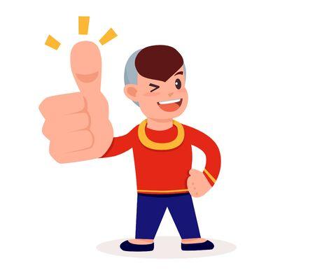 boy showing a thumb up Illusztráció