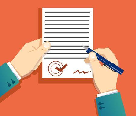 ein Dokument unterschreiben Vektorgrafik