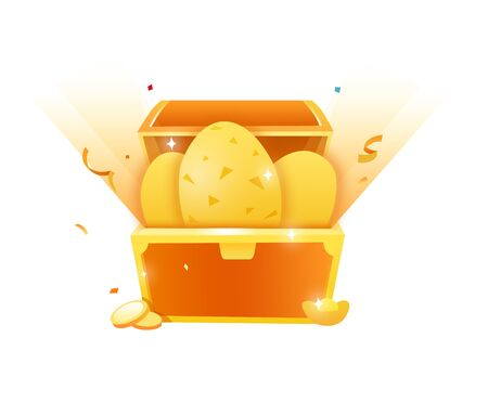 golden eggs in the treasure chest 向量圖像