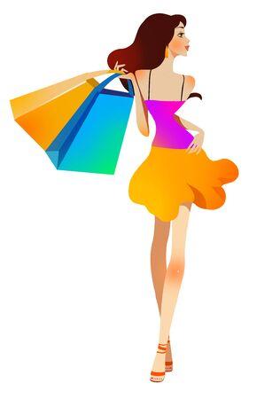Trendy fashion shopping girl Stok Fotoğraf