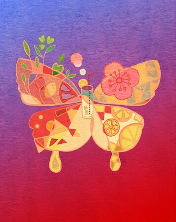 art illustration with colorful butterfly