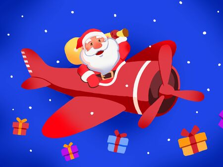 Santa Claus with air flight sending christmas gift