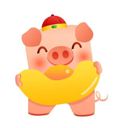 Cute pig holding gold ingot (yuan bao)