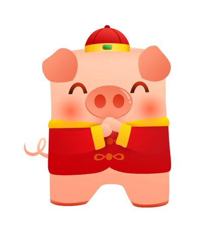 year of the pig - piggy with chinese new year custom Banco de Imagens - 128380370