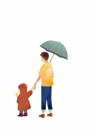 Father holding son hand walking with umbrella Banco de Imagens - 128370395