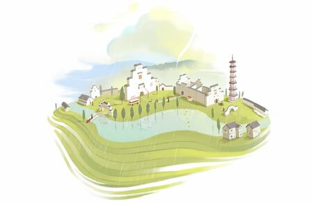 illustration of ancient town Banco de Imagens - 128369775