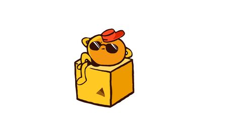 Cute orange character wearing sunglasses resting on a cube