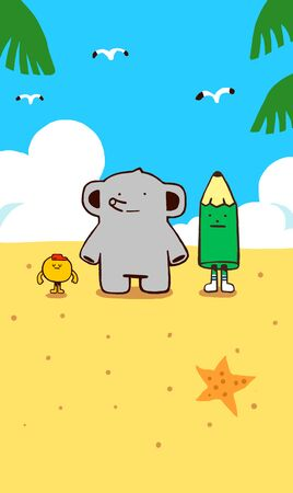 happy elephant with friends at beach