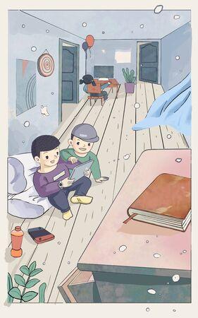 children playing around at home