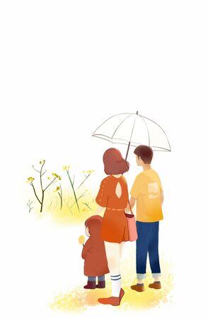 family walking together under umbrella