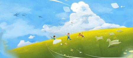 children playing kite at grassland Banco de Imagens