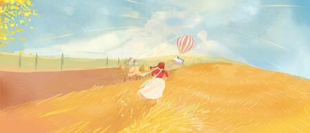 teenage girl chasing hot balloon house - concept image of autumn