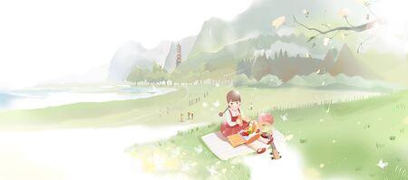 little girl picnic at grassland