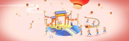 people having dragon dance and light up kongming lantern
