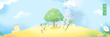 people busy on planting trees - concept illustration of arbor day