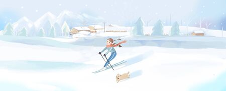 A girl ski in the snow with pet dog