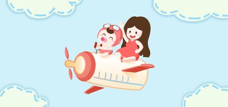 mother and baby flying with milk bottle - concept illustration of children day