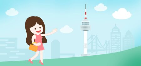 happy women going abroad at bussan city - concept illustration of Korea Tourism