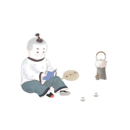 Child boiling tea while reading
