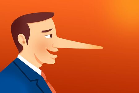 Lying businessman with long nose Banco de Imagens