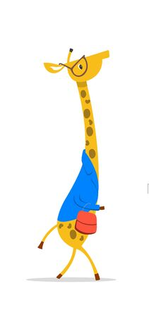 Cartoon Giraffe With Glasses Banco de Imagens