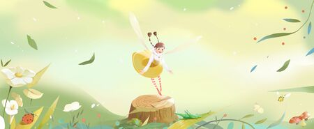 A girl flying with wings in spring