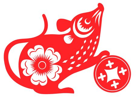 Year of the rat. Red paper cut Chinese rat zodiac Ilustração