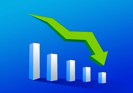 3D bar chart graph with arrow moving down on blue background